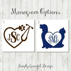 Vet Stethoscope Decal - Vet Tech Gift - Veterinarian Decal - Vet Tech Decal - Car Window Decal - Laptop Decal - Vet Monogram Sticker - Decal by SimplyGracefulDesign on Etsy