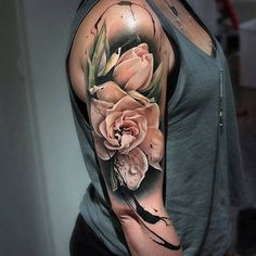 Best Tattoos for Men and Women 02 Tulips Tattoo, 3d Flower Tattoos, 3d Tattoos, Rose Tattoos, Sexy Tattoos, Body Art Tattoos, Tatoos, Artistic Tattoos, Irezumi Tattoos
