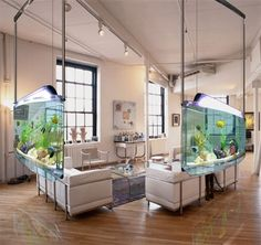 Amazing concept - Hanging Saltwater Aquariums | This innovative hanging system is a fantastic accessory for any setting. The cords and filtration system are neatly concealed within the stainless steel tubes and the fluorescent lighting (included) sits atop the acrylic frame. The flirtation system can be set for either freshwater or saltwater. ~