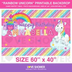 RAINBOW UNICORN Party Backdrop - Personalized - Digital - Printable - Dessert Table Backdrop - Photo Background - PDF