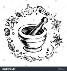 Find Mortar Pestle Wreath Spices Herbs Handdrawn stock images in HD and millions of other royalty-free stock photos, illustrations and vectors in the Shutterstock collection. Thousands of new, high-quality pictures added every day. Clipart Black And White, Black And White Drawing, Spice Logo, Herbs Illustration, Herb Art, Witch Drawing, Jobs In Art, Wreath Drawing, Background Drawing