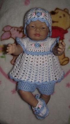Baby Girl Crochet Diaper Dress Set  Hat Top by TJsCrochetCreations