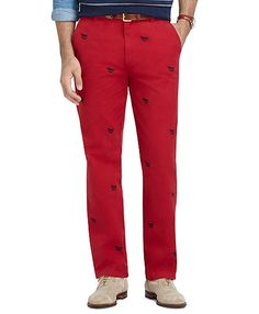 Clark Fit Garment-Dyed Horse Embroidered Pants - Brooks Brothers