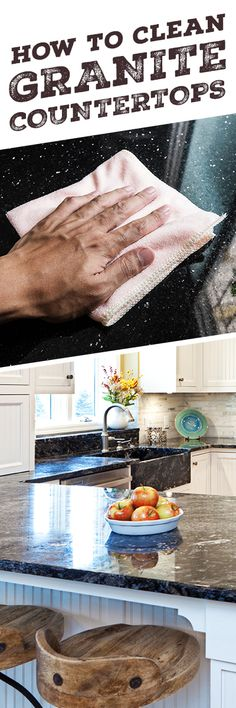 Keep your granite countertops looking beautiful for years to come, you'll need to clean and polish them regularly with non-abrasive materials. Wipe up spills immediately to avoid staining, and use Simple Green Stone Cleaner to give your counters the look Homemade Cleaning Supplies, Household Cleaning Tips, Cleaning Recipes, Diy Cleaning Products, Cleaning Solutions, Cleaning Hacks, Grill Cleaning, Cleaning Blinds, Cleaning Granite Countertops