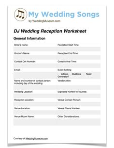 DJ Wedding Reception Worksheet - available in PDF and on Google Docs