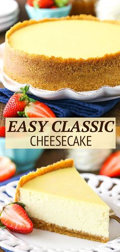 How To Make Cheesecake, Easy Cheesecake Recipes, Easy Cake Recipes, Classic Cheesecake, Sweet Recipes, Baking Recipes, Dessert Recipes, Baked Vanilla Cheesecake, Best Homemade Cheesecake Recipe