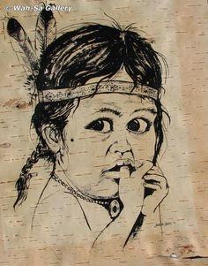 Jackson Beardy Untitled Child Portrait Woodlands School, Native American Artists, Native Art, Nativity, Beautiful Places, Jackson, Carving, Child, Paintings