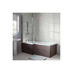 Emberton L Shaped Shower Bath End Panel - Walnut