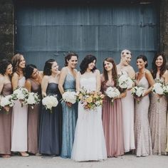 Eclectic Warehouse Wedding Inspiration + mismatched bridesmaid dresses…