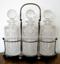 Crystal decanters for the bar