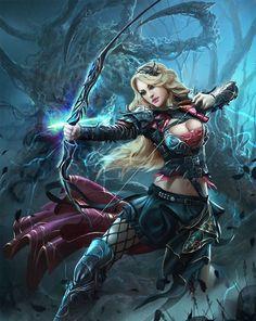 Applibot Illustration by alexnegrea* Digital Art / Drawings & Paintings / Fantasy Fantasy Warrior, Fantasy Girl, 3d Fantasy, Warrior Girl, Fantasy Kunst, Warrior Princess, Fantasy Women, Medieval Fantasy, Fantasy Artwork