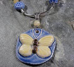 Porcelain Buttefrly Pendant and Lemon Quartz by PattiVanderbloemen