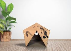 Sumi-e Cardboard Cat House is sustainable cat bed, suitable for your home interior, build from cardboard - favorite material for your Kitty. Cardboard Cat House, Something Beautiful, Kitty, Cats, Furniture, Design, Little Kitty, Gatos, Kitty Cats