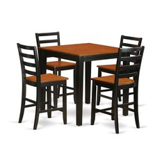 Counter Height Black and Tan Pub Set (5-piece Set) (Wooden)