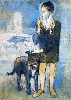 Boy with a dog - 1905 - Pablo Picasso / Fatos Curiosos da História da Arte - Picasso - Read more: http://fazendoartedmc.blogspot.com.br/2014/03/fatos-curiosos-da-historia-da-arte_18.html
