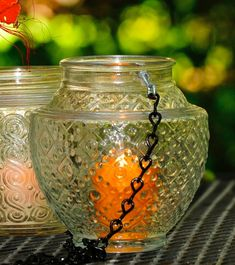 Vintage glass repurposed, candle holder