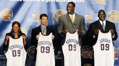 CAPTION Hall of Fame: Daniel Mears, Associated Press Rutgers women's coach C. Vivian Stringer, John Stockton, David Robinson and Michael Jordan hold jerseys at the announcement that they were elected to the Basketball Hall of Fame. Utah Jazz coach Jerry Sloan is also part of the 2009 class.