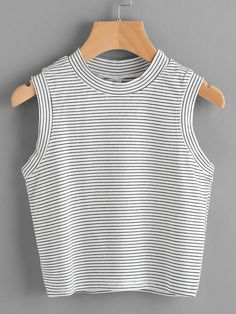 SheIn offers Pinstripe Crop Tank Top & more to fit your fashionable needs. T Shirt Crop Top, Crop Tank, Tank Tops, Casual Outfits, Girl Outfits, Summer Outfits, Fashion Clothes, Fashion Dresses, Ellesse