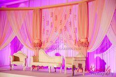 Haseena & Jainal, Pakistani Wedding, Tampa Marriott Waterside & Marina, Suhaag Garden, Florida wedding decorator, Indian wedding decorator, stage, pink chiffon, columns, chaise