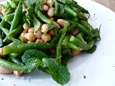 Neat way to make a three bean salad... with green beans and fresh mint!