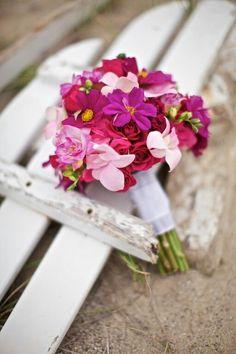 Red, Pink & Fuchsia Florals Hand Tied Wedding Bouquet