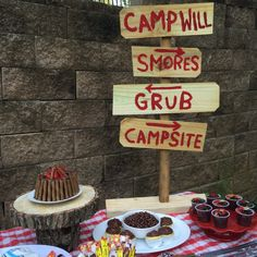 Camp Will-derness- birthday party with camp fire cake, smores, dirt cups (with worms), and a sleepover.