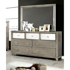 $1049.00 Shop for Furniture of America Divonne Modern Crocodile Silver 2-Piece Dresser and Mirror Set. Get free shipping at Overstock.com - Your Online Furniture Outlet Store! Get 5% in rewards with Club O!