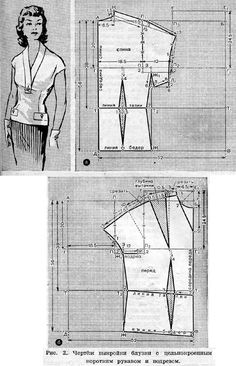 Blouse with breast darts, single cut short sleeves and undercut (see Fig. 2). To construct a drawing pattern must remove the following measurements: 1 length back to waist level - 38 cm. 2 Front length to waist level - 51 cm. 3 arm length - 14 cm. 4 semicircle neck - 18 cm. 5 semicircle chest - 48 cm. 6 semicircle at hip level - 50 cm.