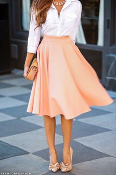 Pretty in peach! An elegant and subtle way to incorporate girly details, like the bow and midi-length fluttery skirt. Paired with a plain, white button up, this outfit is ready for work, and then dinner after!
