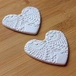 Angel Heart Gift Tag - Vintage Doily Embossed- White Clay - by redpunchbuggy on madeit