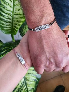 Set of 2 Personalized Engraved Names and Date Leather Bracelets, His and Hers Matching Set, Custom Couples Anniversary Relationship Gift Engraved Bracelet, Name Bracelet, Date Bars, Relationship Gifts, Couple Bracelets, Matching Set, Leather Bracelets, Gifts For Husband, Custom Engraving