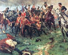 The Buffs ( 3rd Regiment ) defend their colours. Battle of Albuera 16th May 1811. British, Portuguese and Spanish forces led by General Beresford and General Blake against the French under Marshal Soult. Heavy casualties were sustained by both sides. The bloodiest battle of the whole Peninsular War.