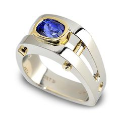 Post Modern 134-R01:  1.93ct Sapphire set in 18K Yellow and White Gold.