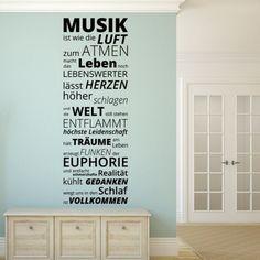 """Wandtattoo """"Musik ist wie die Luft zum Atmen..."""" - Musik in Worte gefasst Holen Sie sich diesen tollen Wandbanner mit wahrhaftigen Worten ueber das Thema Musik. Bringen Sie Ihre Leidenschaft..."""