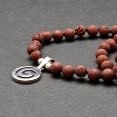 Greek Spiral Necklace, Lava and Silver Unisex Necklace, Red/Brown Stone Minimalist Beaded Necklace, Santorini Lava Jewelry, Greek Jewelry Beaded Necklace, Beaded Bracelets, Greek Jewelry, Natural Brown, Sterling Silver Pendants, Lava, Spiral, Jewelry Collection, Unisex