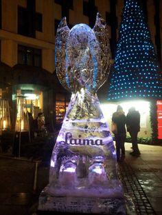 """Julija Ivanjuta 21 грудня 2013 Не знаю какая связь у ледяного ангела и фабрики """" Laima"""", но смотрится интересно — в FG Royal Hotel."""