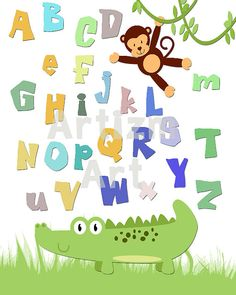 Safari Art Print letters numbers zebra monkey giraffe by ArtizmArt, $14.00