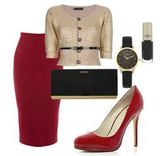 Red pencil skirt & heels