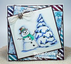 Art Impressions Rubber Stamps: WC Series 4 Set 1 (Sku#4097). handmade snowman card. winter, snowmen, snowflakes, holiday
