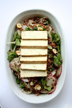 Red Quinoa Citrus Salad with Hazelnuts, Fennel, Radish, and Baked Tofu