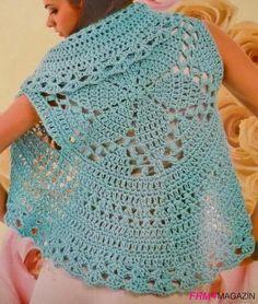 chalecos tejidos a crochet patrones ile ilgili görsel sonucu Crochet Circle Vest, Crochet Vest Pattern, Shrug Pattern, Crochet Circles, Crochet Jacket, Lace Jacket, Crochet Cardigan, Crochet Scarves, Crochet Clothes
