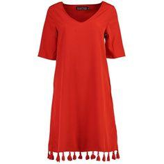 Boohoo Tall Alessia Tassel Hem Woven Dress (1,290 PHP) ❤ liked on Polyvore featuring dresses, red dress, tassle dress, tassel dress, boohoo dresses and red tassel dress