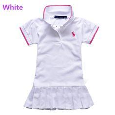 cotton baby girls summer style dress children pleated dress baby girl tennis dresses brand Polo children's vstinus dresses