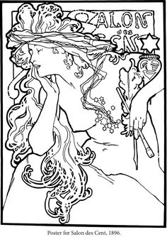 The official site of the Mucha Foundation. A comprehensive resource for information on Alphonse Mucha (or Alfons Mucha) with details on his life, the Mucha Trust Collection, news, exhibitions, events and publications. Dover Coloring Pages, Adult Coloring Book Pages, Coloring Books, Coloring Stuff, Motif Art Deco, Art Nouveau Design, Alphonse Mucha, Colorful Pictures, Line Art