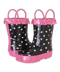 Capelli New York Black & Pink Hearts Ruffle Pull-On Rain Boot by Capelli New York #zulily #zulilyfinds