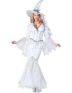 Déguisement Magicienne pour femme - Premium : Ce déguisement de sorcière blanche pour femme se compose d'une robe et d'un chapeau (bijoux et chaussures non inclus).La longue robe est de couleur blanche. Elle...