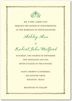 Our wedding invitation is somewhat similar to this with an Ecru paper and a beaded border.  All of the writing will be charcoal script except for the names which will be in gold script.