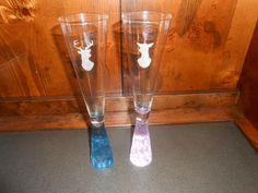 Champagne Flutes - Etched with Buck and Doe - Wedding Gift Idea by TreasuresShop on Etsy