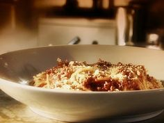 Pasta Bolognese Recipe : Food Network - add milk in the reducing process and use beef stock instead of wine.