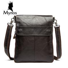 MYNOS Cow Leather Men Bag Vertical Business Leather Big Capacity Crossbody Bag For Men Genuine Leather Bag Men Tote Handbag Male
